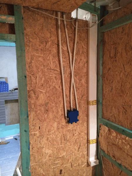abluftkanal und duschanshcl e in der saunawand hausbau ein baublog. Black Bedroom Furniture Sets. Home Design Ideas