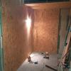 Aussenwand der Sauna aus Spanplatten