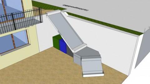 """Die """"funktionale"""" Treppe mit dem Platz für 3 Mülltonnen"""