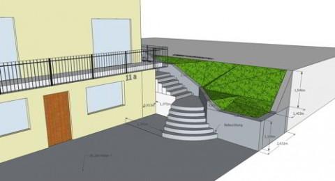 """Die selbe Treppe aber mit einer geraden Hangsicherung (""""Sparvariante"""")"""