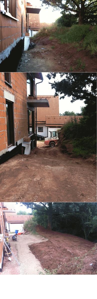 Baugrube: nicht Aufgefüllt - Aufgefüllt mit Bodenaushub - Schotter